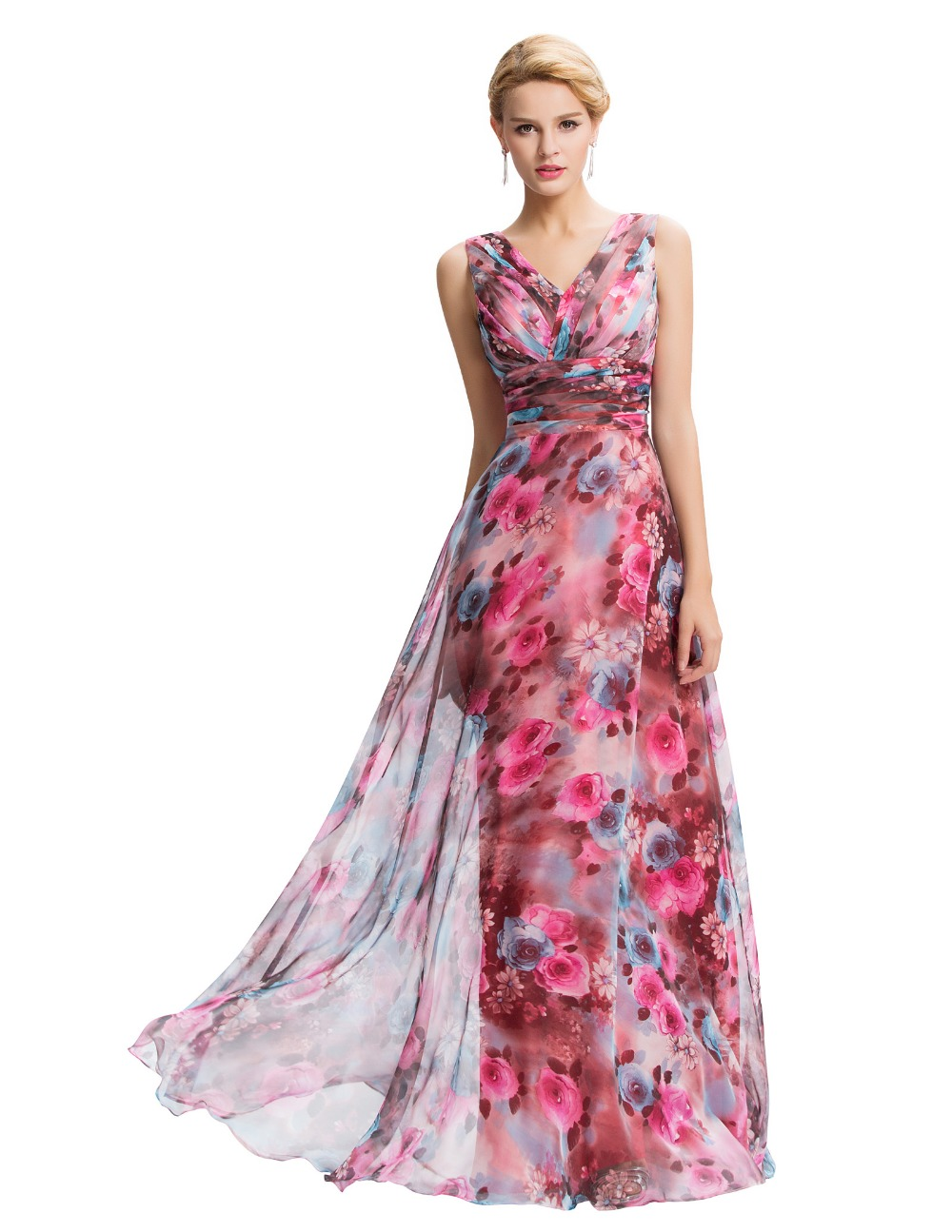 86f0d36949 Chino estampado de flores de noche vestidos largo Vestido Formal Sexy Two  hombro gasa estampado de flores Vestido de fiesta Vestido de Festa Longo en  ...