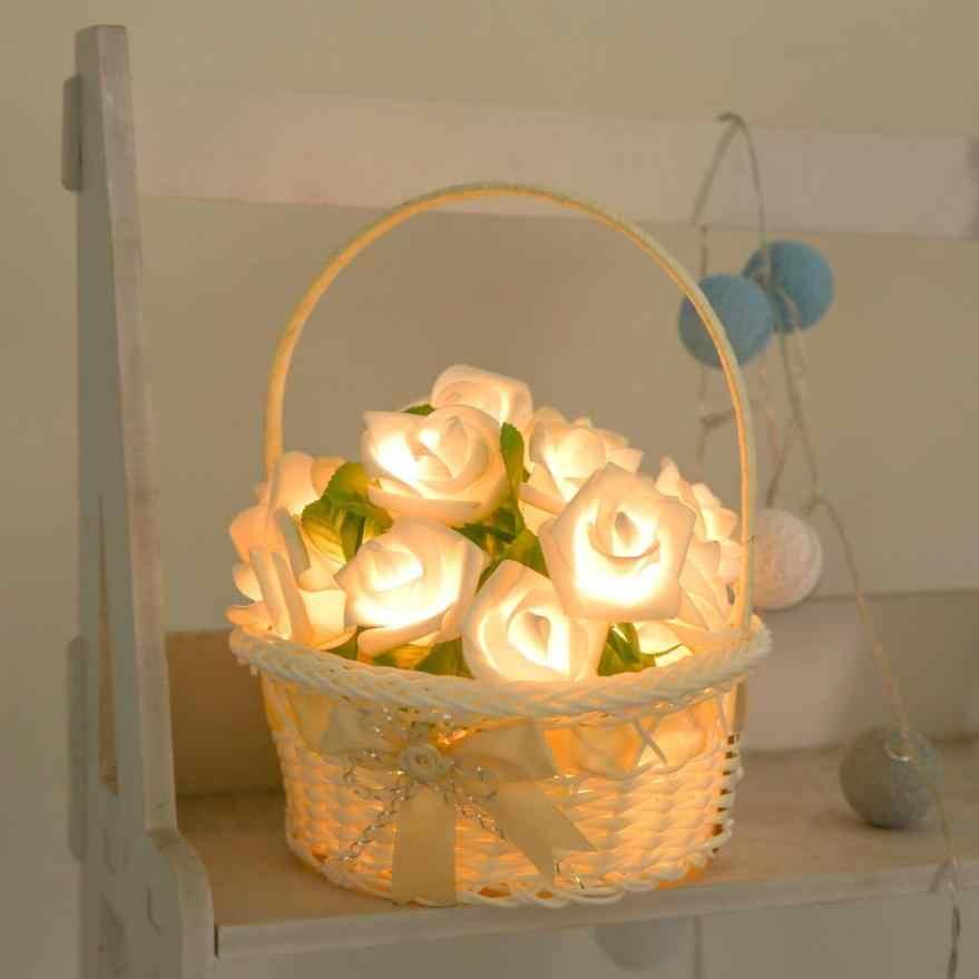 Роза светодиодный окна Шторы огни Строка лампы вечерние декор с 10 светодиодный бусинами Свадебные вечерние украшения дома груза падения B10 30 +