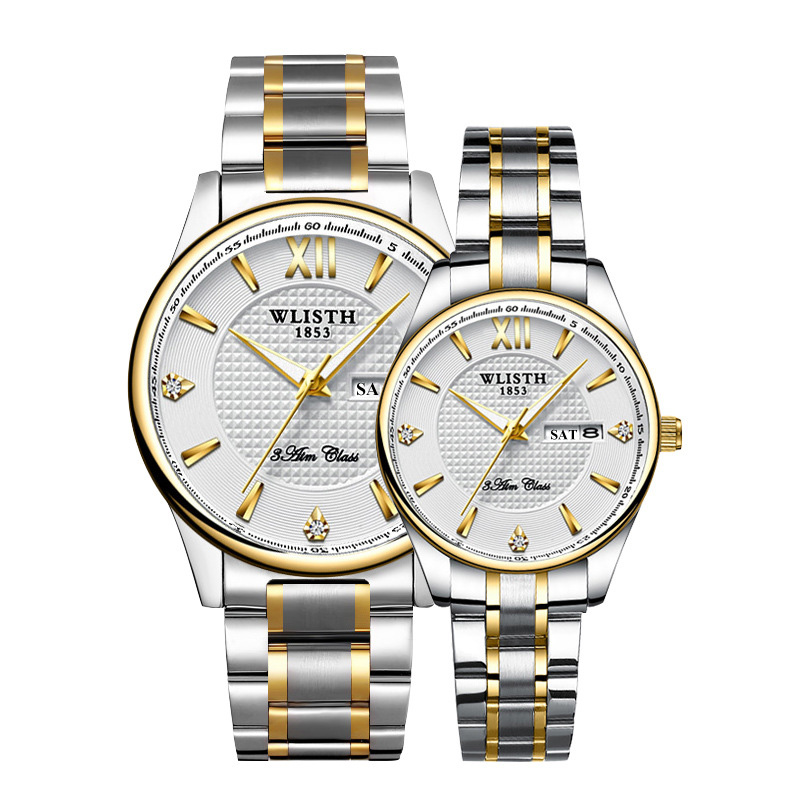 Couple Wristwatches High Quality Top Brand WLISTH Business Watch For Men Hour Women Watches Dual Calendar Ladies Watch For Lover