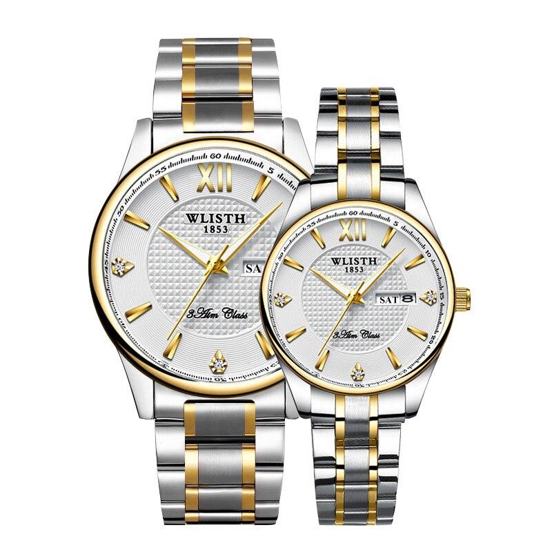 Couple montres haute qualité Top marque WLISTH montre d'affaires pour hommes heure femmes montres double calendrier dames montre pour amoureux