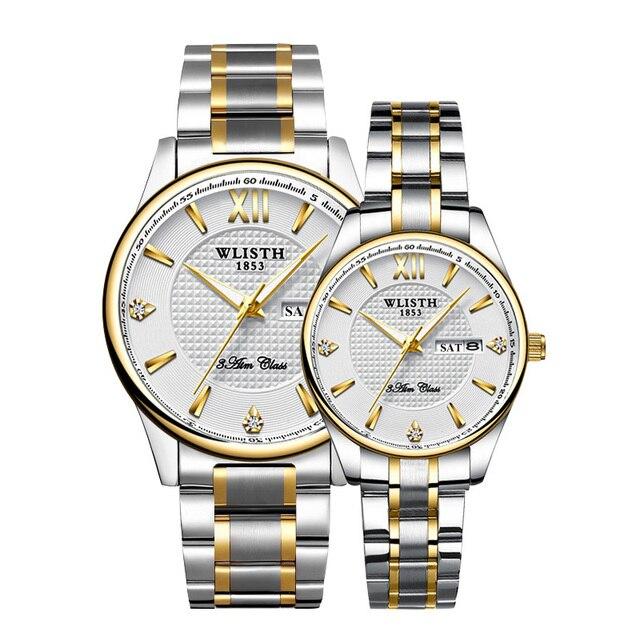 זוג שעוני יד באיכות גבוהה למעלה מותג WLISTH עסקים לצפות עבור גברים שעה נשים שעונים לוח שנה כפולה גבירותיי שעון עבור מאהב