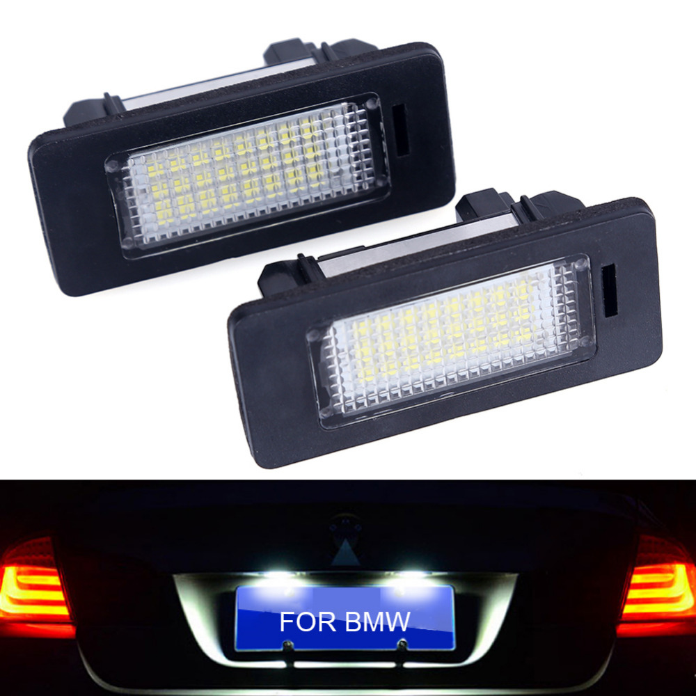 Urbanroad 2Pcs/Lot Car LED License Plate Light No Error Lamp 24LED SMD2835 6000K For BMW E39 M5 E70 E71 X5 X6 E60 M5 E90 E92 2pcs lot 24 smd car led license plate light lamp error free canbus function white 6000k for bmw e39 e60 e61 e70 e82 e90 e92