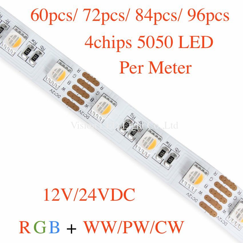 5m A Roll/ A Lot,  Rgbw Led Strip,  60/72/84/96pcs 4chip 5050 Led Per Meter, 12V/24V, Ww(2800-3200k) Pw(4000-4500)cw(6000-6500k)