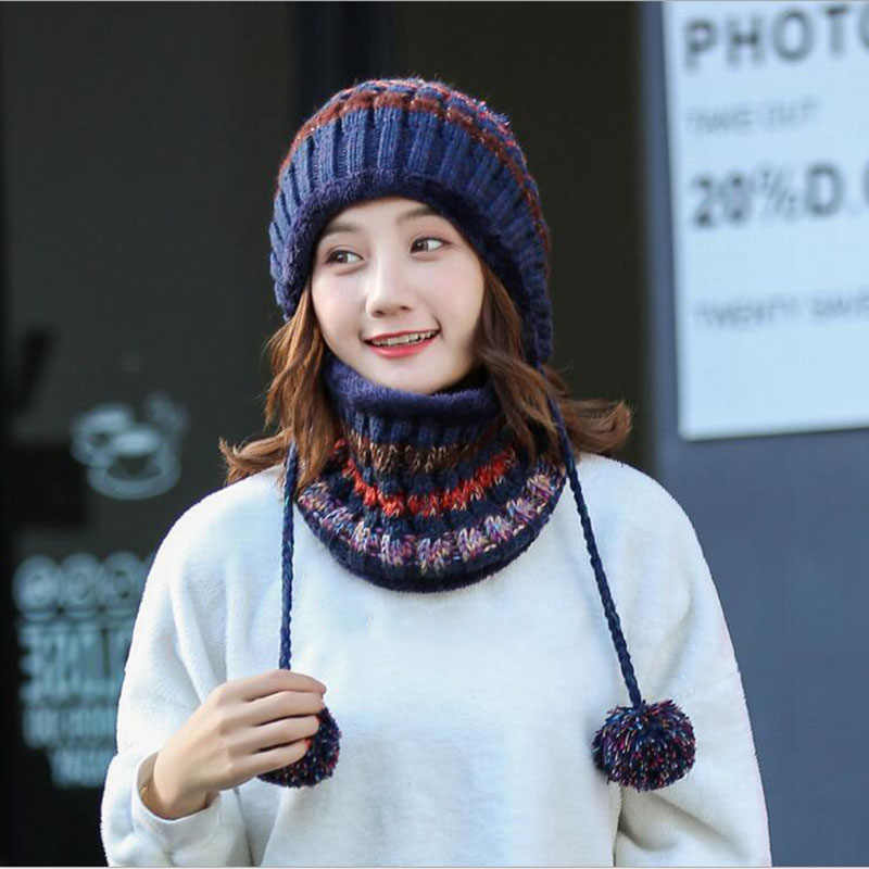 e47d1ca6450f4 ... BINGYUANHAOXUAN 2017 Winter Knitted Hat Women Scarf Caps Mask Gorras  Bonnet Warm Baggy Winter Hats For ...