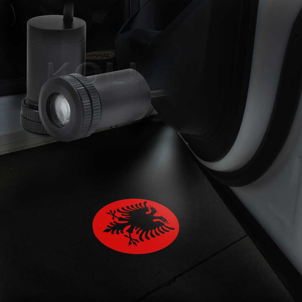 2x Albanian Eagle Logo Car Door Courtesy Welcome Lamp LED Laser Projector Ghost Shadow Light