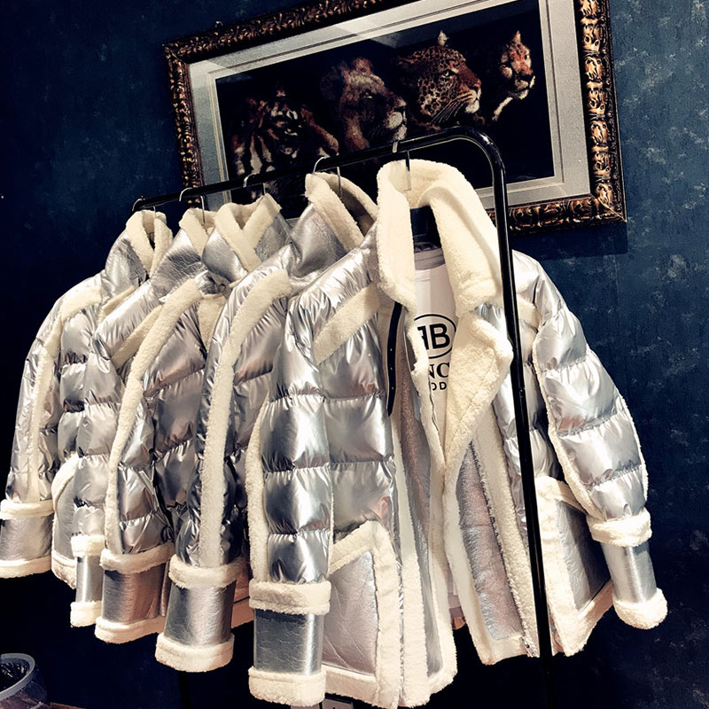 Winter Women Silver Jacket 2019 Lambswool Fur one Down Jackets Fashion Glossy Stand Collar Cotton Coat