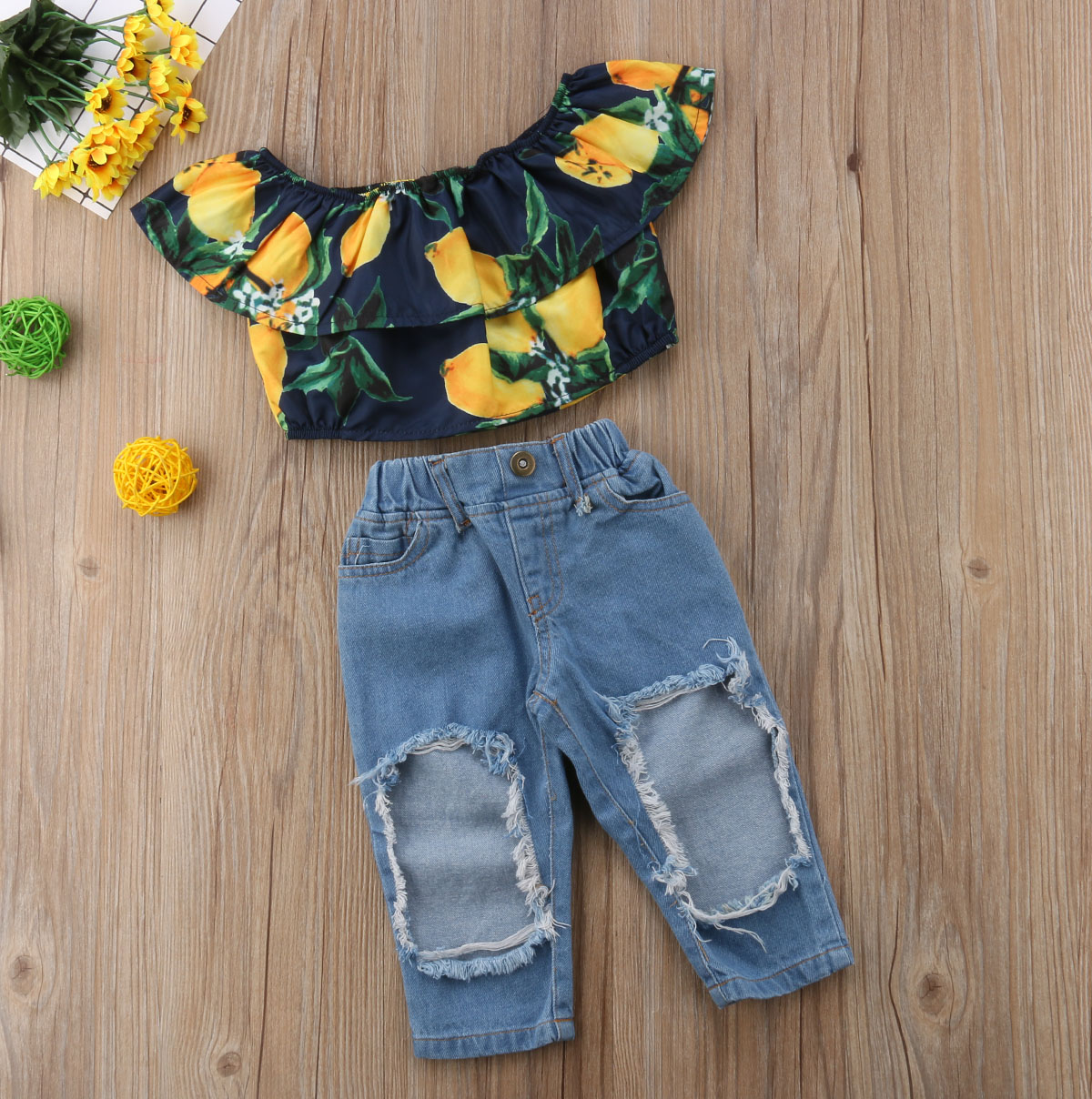 fd868806f91e 2PCS Set Baby Girls Kids Outfits Casual Lemon Off Shoulder Tops Sleeveless  T Shirt+Ripped Jeans Set Clothes-in Clothing Sets from Mother & Kids on ...