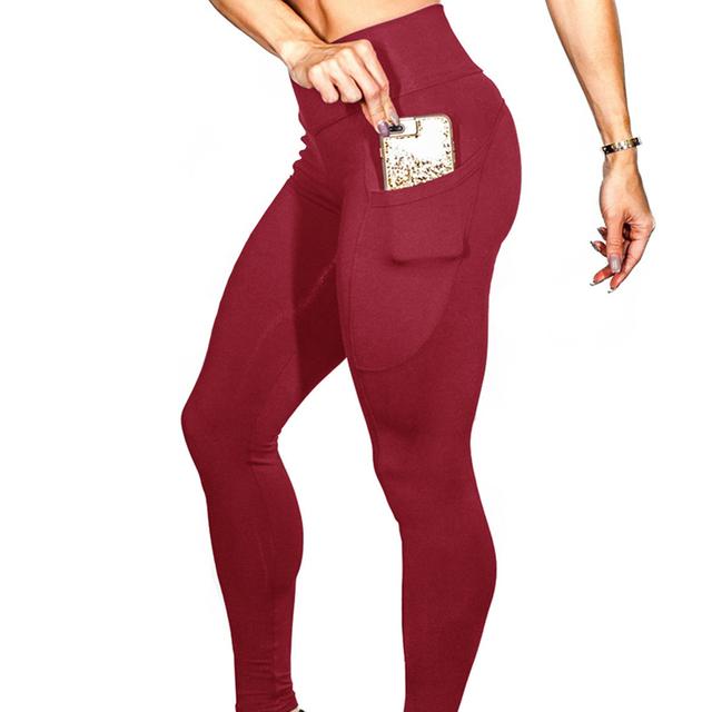 Joga spodnie z kieszeniami S-XL kobiety Sport legginsy jogging Trening Bieganie legginsy stretch High Elastic siłownia Rajstopy kobiety Legging