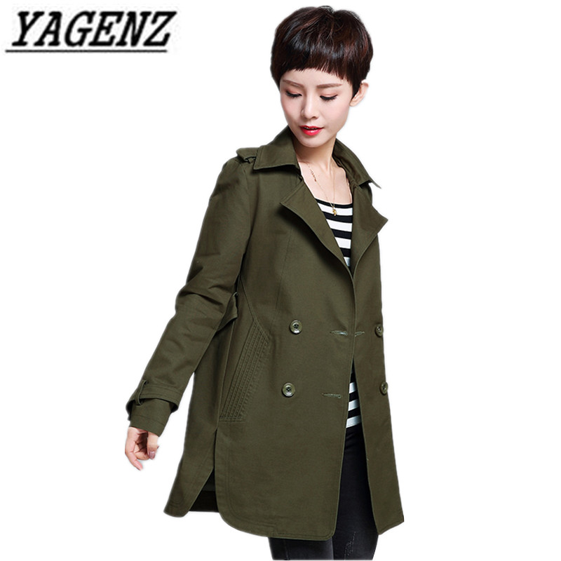 YAGENZ Spring Autumn Female Windbreaker Casual Middle-aged Women Cotton Outerwear Plus size Double-breasted Women Trench Coat