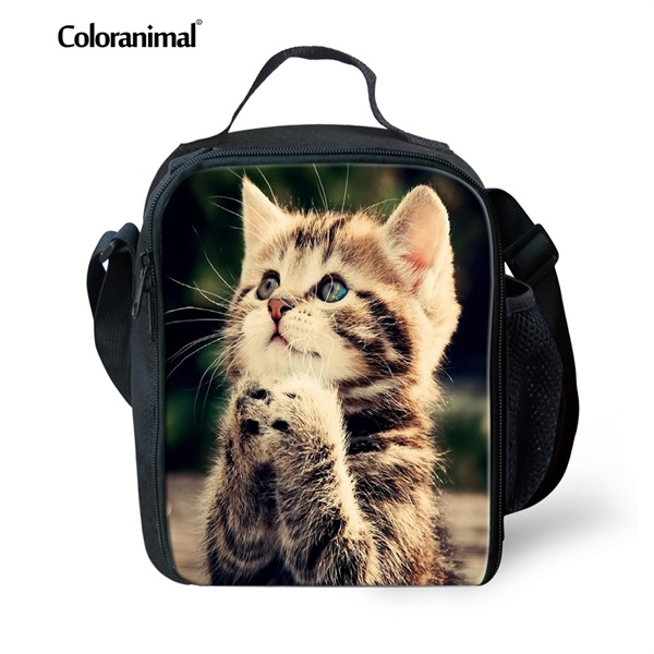 598f7ae7113e Coloranimal Famous Design Child School Food Lunch Bag Cute 3D Animal Blue  Cat Print Meal Package Picnic Crossbody Bag Insulated-in Lunch Bags from ...