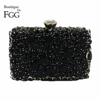 Boutique De FGG Black Diamond Crystal Purse Evening Bags Women Metal Clutches Bag Wedding Party Dinner