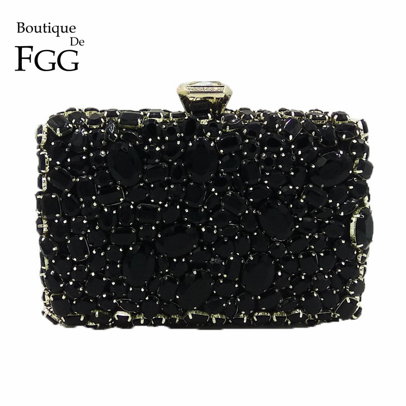 Boutique De FGG Black Diamond Crystal Purse Evening Bags Women Metal Clutches Bag Wedding Party Dinner Chain Shoulder Handbag new women luxury diamond shoulder finger ring evening bags handbag high quality clutches bags party wedding purse chain crystal