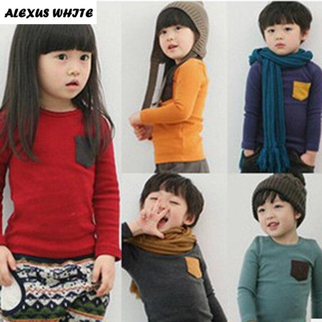 5 Colors Children Clothes Girl Boy Long Sleeve Cotton O-Neck T Shirts 2019 Kids Clothing Tops Basic Pocket Decor T-Shirt 5