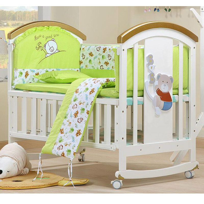 High Quality Multifunction Baby Bed Pine Wood Baby Cradle Green Paint White Newborn Soft Solid Crib Rolling Bed Variable Desk 1pc white or green polishing paste wax polishing compounds for high lustre finishing on steels hard metals durale quality