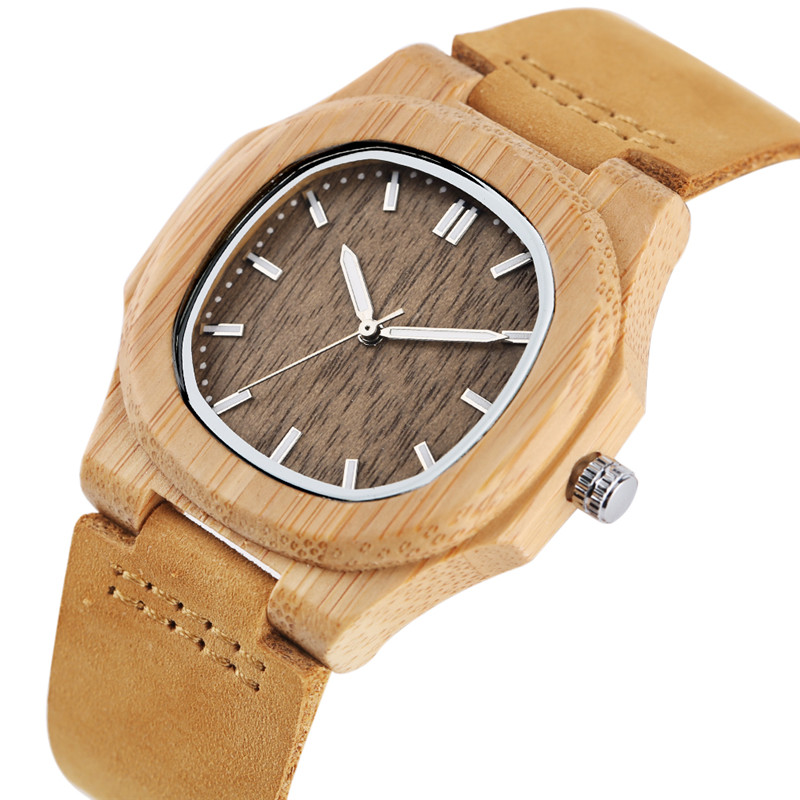 Special Nature Wood Watches for Men Quadrilateral Shape Genuine Leather Leisure Sport