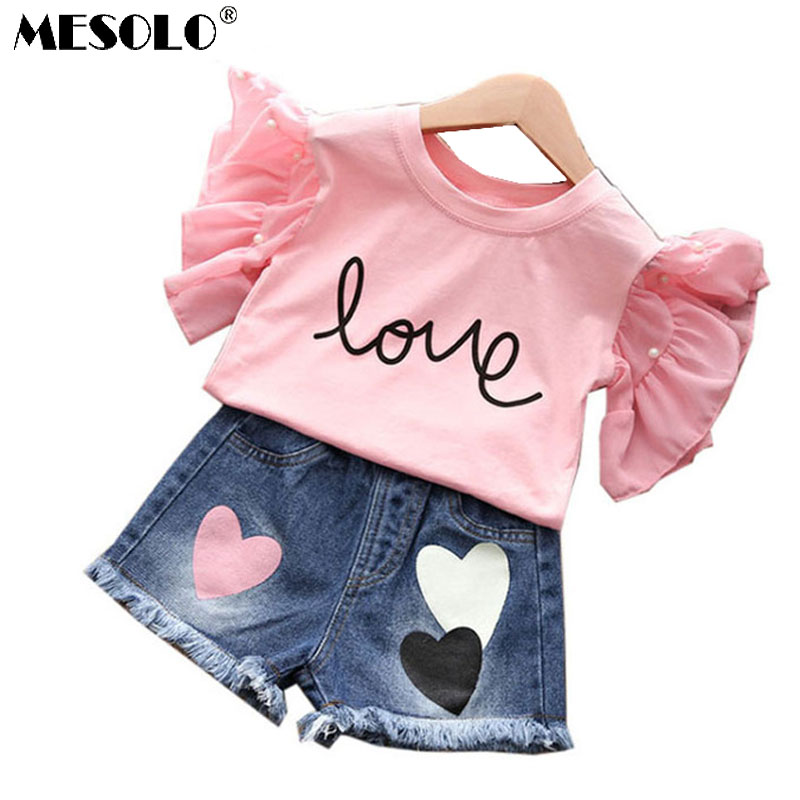 MESOLO summer hot style 2018 children jeans + t-shirts, children's wear two-piece han edition of the new children's shorts