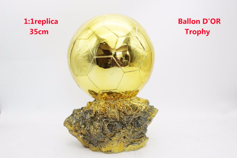 Mr Football trophy 1:1 Real Life size 35cm Ballon D'OR Trophy for Sale Resin Best Player Awards Golden Ball Soccer Trophy