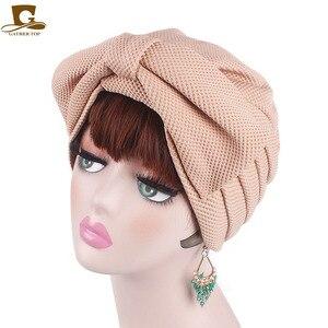Image 1 - Nuovo di modo Musulmano India di Lusso Delle Donne Grande Fiocco del Cappello Turbante Cofano Chemio Hijab Beanie Cap Signore Turbante accessori per capelli