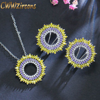CWWZircons Top Quality Gorgeous Yellow Purple Cubic Zirconia Stones Round Women Hot Summer Earrings Necklace Jewelry