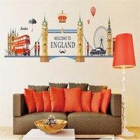 Известный Лондон Пейзаж наклейки на стену для гостиная украшения дома задний план ПВХ плоское панно ДВЕРИ Diy Европа обои Топ