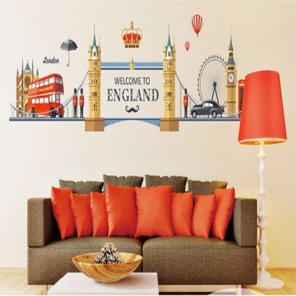 Famoso londres paisagem adesivos de parede para sala estar decoração de casa fundo pvc avião mural porta diy europa topo