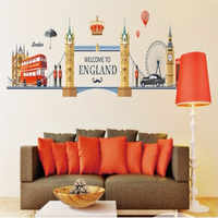 Famous London Landscape Wall Stickers For Living Room Home Decoration Background Pvc Plane Mural Door Diy Europe Wallpaper Top