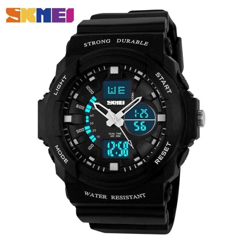 Azul del reloj SKMEI niños reloj Digital relojes deportivos doble de tiempo de visualización de alarma de reloj cronógrafo tiempo PU Correa impermeable Relojes