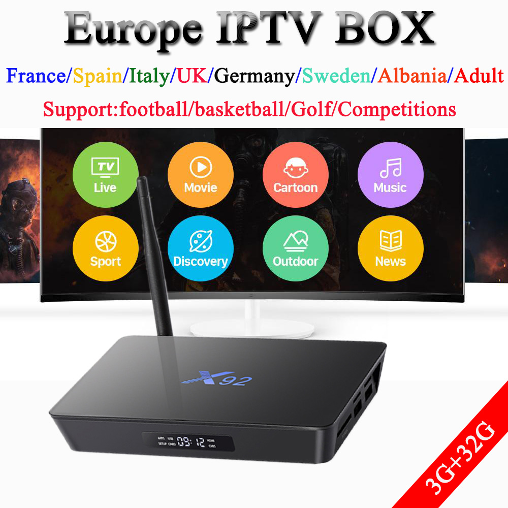 x92 android TV box 9100live 11000vod 1 year Europe French Spain Portugal Sweden Dutch Italy UK