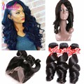 7A Grade Pre Plucked Lace Frontal Weave Loose Wave Curly 360 Lace Frontal Closure With Bundles 3 Bundles With Frontal Closure
