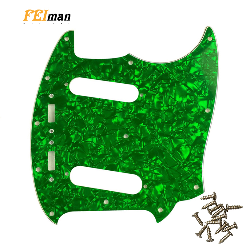 Pleroo Guitar parts Pickguard with 12 screws For fender American Mustang Guitar Pick guard best quality guitarra Scratch Plate image