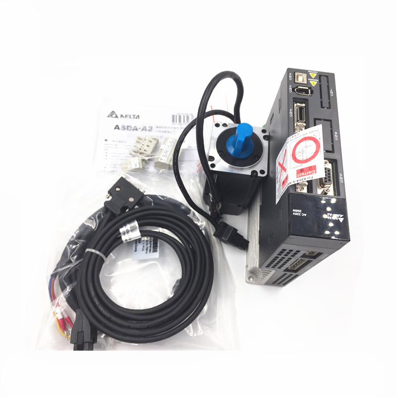 CNC Delta Servo System 200W AC Servo Motor + Driver kits 220V 0.64NM 3000r/min 60mm with 3M Cable ECMA-C10602RS+ASD-A2-0221-L original delta ecma c30602es ab 200w servo driver warranty for 1 year