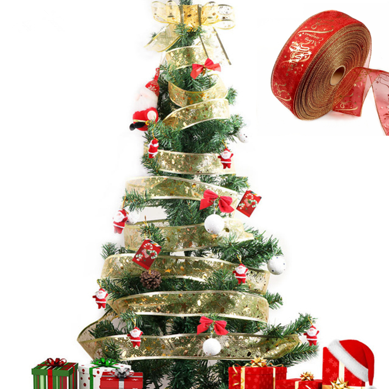 1pc 5cm X 180 Cm Red Color Ribbon Christmas Tree Ribbons