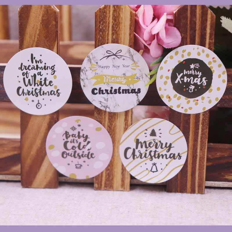 100 ชิ้น Happy New Year Merry Christmas love self adhesive ป้าย Vintage kraft handmade ป้ายกระดาษ self seal ขอบคุณป้าย
