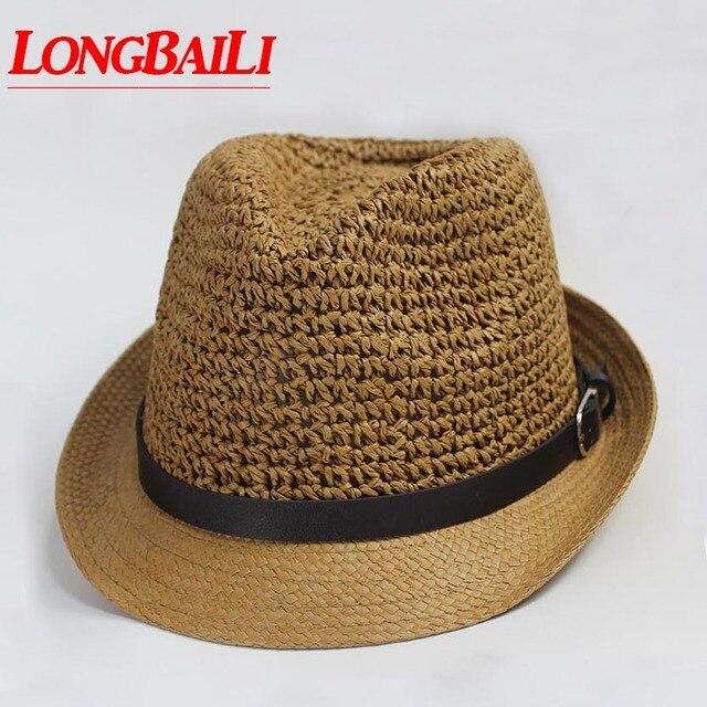 Summer Crochet Straw Fedora Hats For Men Panama Women Patchwork Trilby Sun  Hats MEDS025 b9eb3e618