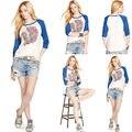 Moda Jefe Indio Diseño Impresión Siete de Manga Larga Mujeres Camiseta 2016 Nuevo Otoño Algodón Unicornio Camiseta Para Chica Tee Shirts