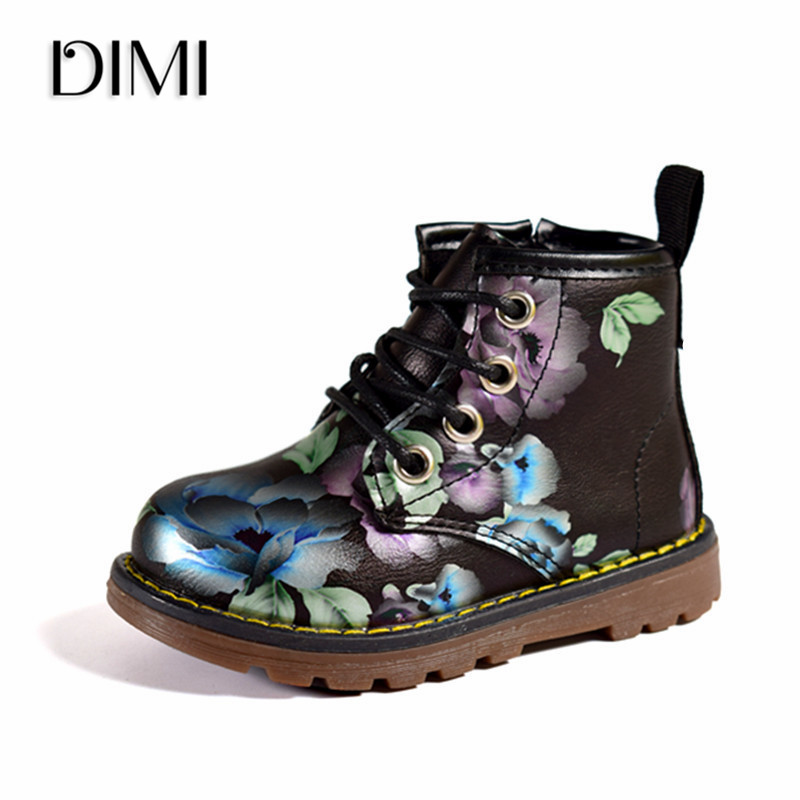 DIMI 2019 New Kids Girls Boots Leather Princess Martin Boots Fashion Elegant Flowers Casual Child Shoe For Girl Baby Boots Shoes