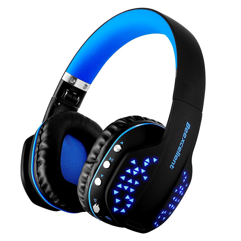 Beexcellent Q2 Wireless Bluetooth Headphones Foldable HiFi Stereo Headset with Microphone LED Light Handsfree for Phones PC PS4