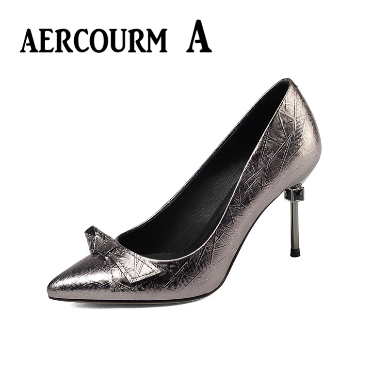 ФОТО Aercourm A 2017 Spring Women Genuine Leather Shoes Female High Heel Shoes Solid Red Pointed Lady Sexy Party Cow Leather Shoes