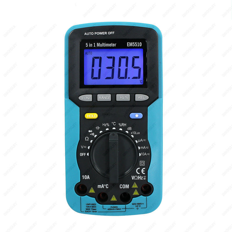 Free Shipping Digital Multimeter 5 in 1 Sound Level Humidity Luminosity Temperature Tester High Accuracy Autoranging Multimeter 5 in 1 digital multimeter sound level humidity luminosity temperature lcd ac dc multimeter volt amp ohm tester em5510 all sun