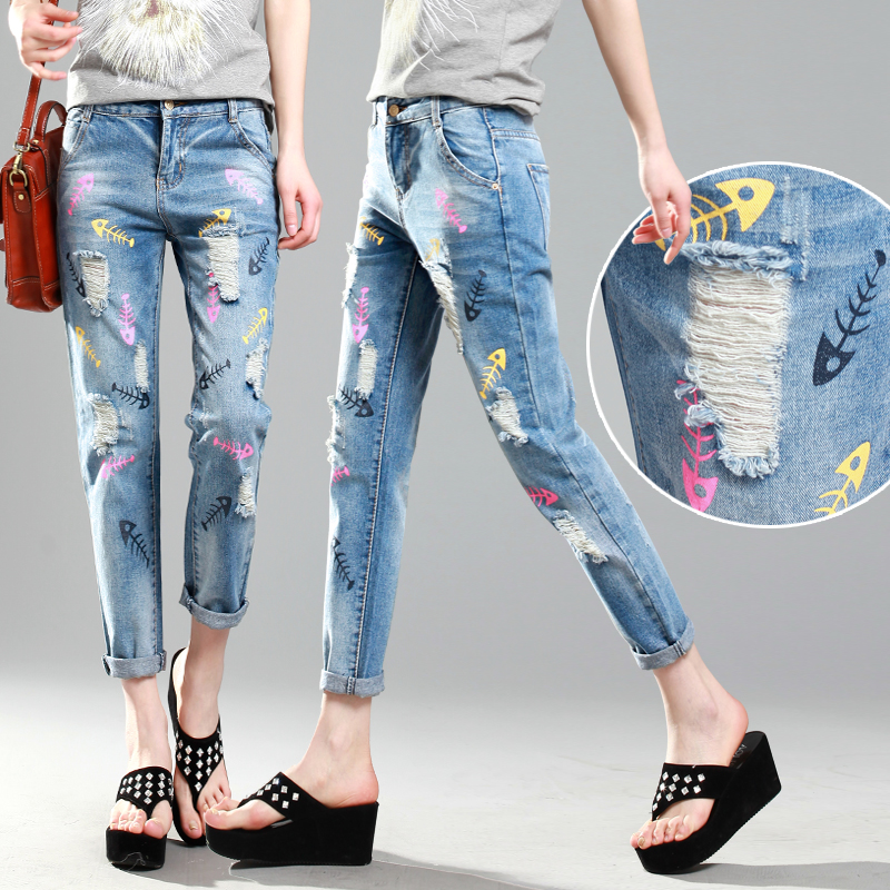2015 summer styles fashionable printing stylish patterned jeans ...