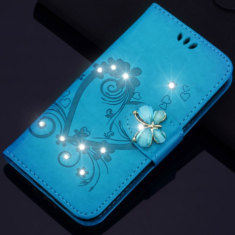 Luxury Diamond <font><b>Case</b></font> For Nokia <font><b>Lumia</b></font> N640 640 N650 <font><b>650</b></font> N550 550 N630 630 Shine Butterfly Retro Cover Wallet Card Pocket Capa D23Z image