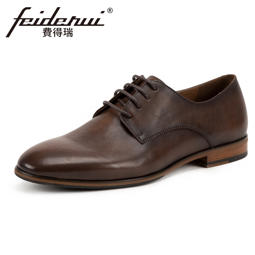 2018 Classic Genuine Leather Men's Handmade Formal Dress Footwear Round Toe Lace-up Man Derby Wedding Party Office Shoes KUD194 цена