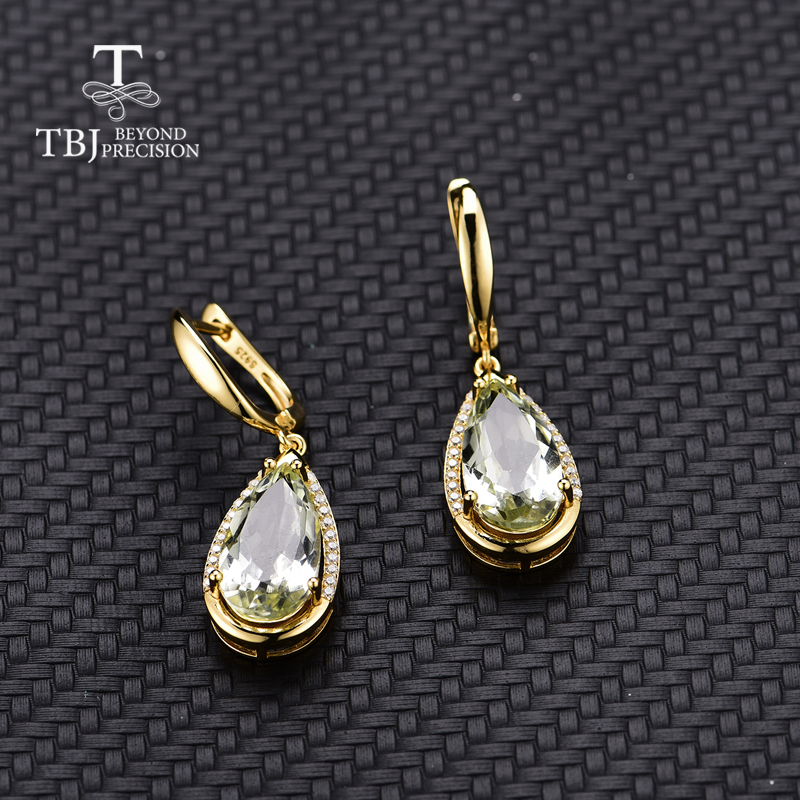 TBJ,Natural prasiolite green amethyst mix  gemstone clasp Earring 925 Sterling Silver Fine Jewelry For party  best valentine box