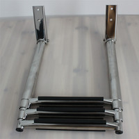 3 Step Stainless Steel Marine Boat Ladder Yacht Polished Steel Telescope Ladder