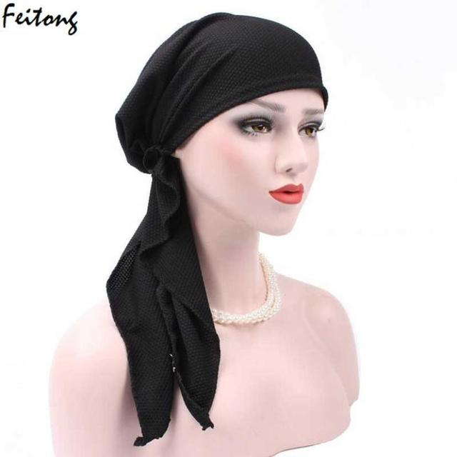Women Headwear in 2017 fashion India Muslim Stretch Turban Cotton soft Hair  Loss Head Wrap Muslim 3591f33574c