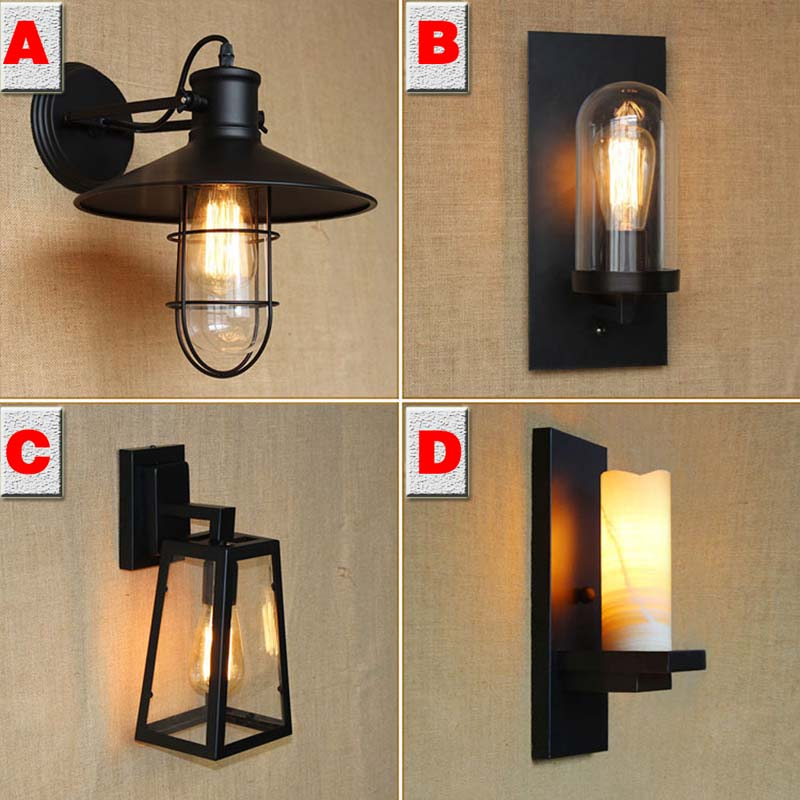 Industrial Wall Light Bedroom: 【Retro Loft Iron Marble Sconce Sconce Wall Lights Vintage