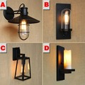 Retro Loft Iron Marble Sconce Wall Lights Vintage Industrial Wall Lamp with Led Bulbs for Outdoor/Indoor Bedroom Lighting Black