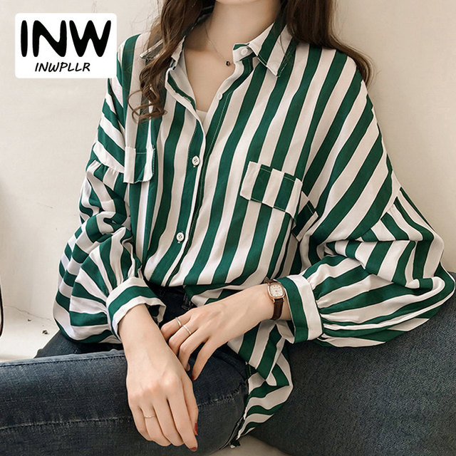 87d136fd2e4 2019 Autumn Women Blouses Casual Long Sleeve Striped Shirts Women Green Tops  Plus Size Rayas Blusas Mujer Camisa Femme