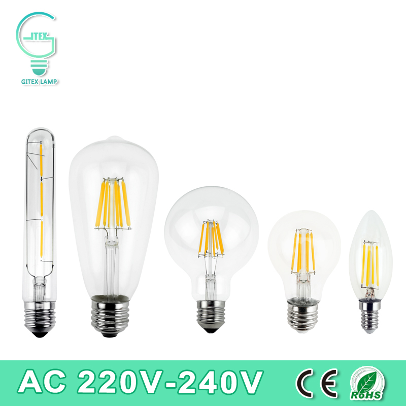 Vintage Retro LED Edison Bulb E27 E14 LED Filament Light 220V 240V LED Lamp 2W 4W 6W 8W LED Glass Ball Bombillas Candle Light 5pcs e27 led bulb 2w 4w 6w vintage cold white warm white edison lamp g45 led filament decorative bulb ac 220v 240v