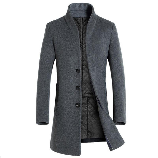 2018 High Quality Classical Long Mens Wearing Autumn Wool & Blends Business Casual Male Pure color Stand Collar slim fit Jacket